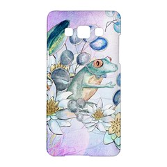 Funny, Cute Frog With Waterlily And Leaves Samsung Galaxy A5 Hardshell Case  by FantasyWorld7