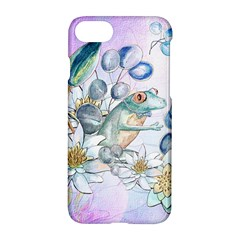 Funny, Cute Frog With Waterlily And Leaves Apple Iphone 7 Hardshell Case by FantasyWorld7