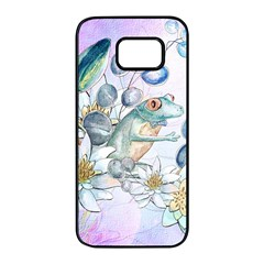 Funny, Cute Frog With Waterlily And Leaves Samsung Galaxy S7 Edge Black Seamless Case by FantasyWorld7