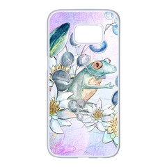 Funny, Cute Frog With Waterlily And Leaves Samsung Galaxy S7 Edge White Seamless Case by FantasyWorld7