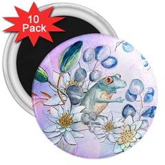 Funny, Cute Frog With Waterlily And Leaves 3  Magnets (10 Pack)  by FantasyWorld7