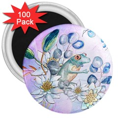 Funny, Cute Frog With Waterlily And Leaves 3  Magnets (100 Pack) by FantasyWorld7