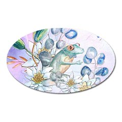 Funny, Cute Frog With Waterlily And Leaves Oval Magnet by FantasyWorld7