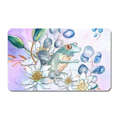 Funny, Cute Frog With Waterlily And Leaves Magnet (rectangular) by FantasyWorld7