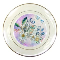 Funny, Cute Frog With Waterlily And Leaves Porcelain Plates by FantasyWorld7
