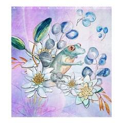 Funny, Cute Frog With Waterlily And Leaves Shower Curtain 66  X 72  (large)  by FantasyWorld7