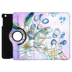 Funny, Cute Frog With Waterlily And Leaves Apple Ipad Mini Flip 360 Case by FantasyWorld7