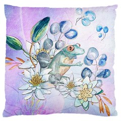 Funny, Cute Frog With Waterlily And Leaves Standard Flano Cushion Case (two Sides) by FantasyWorld7