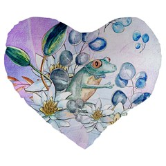 Funny, Cute Frog With Waterlily And Leaves Large 19  Premium Flano Heart Shape Cushions by FantasyWorld7