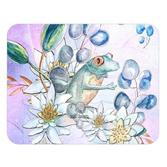 Funny, Cute Frog With Waterlily And Leaves Double Sided Flano Blanket (large)  by FantasyWorld7