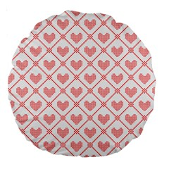 Heart Pattern Large 18  Premium Round Cushions by stockimagefolio1