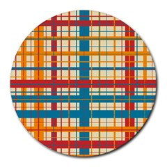 Plaid Pattern Round Mousepads by linceazul