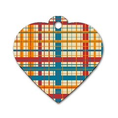 Plaid Pattern Dog Tag Heart (one Side) by linceazul