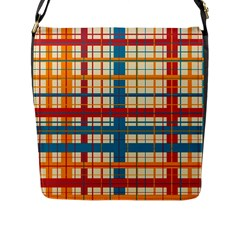 Plaid Pattern Flap Messenger Bag (l)  by linceazul