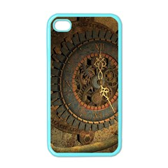 Steampunk, Awesoeme Clock, Rusty Metal Apple Iphone 4 Case (color) by FantasyWorld7
