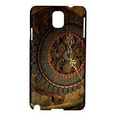 Steampunk, Awesoeme Clock, Rusty Metal Samsung Galaxy Note 3 N9005 Hardshell Case by FantasyWorld7