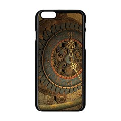 Steampunk, Awesoeme Clock, Rusty Metal Apple Iphone 6/6s Black Enamel Case by FantasyWorld7