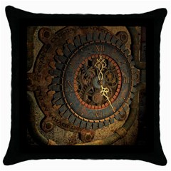 Steampunk, Awesoeme Clock, Rusty Metal Throw Pillow Case (black) by FantasyWorld7