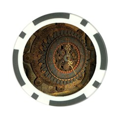 Steampunk, Awesoeme Clock, Rusty Metal Poker Chip Card Guard (10 Pack) by FantasyWorld7