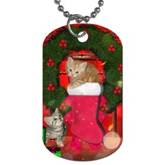 Christmas, Funny Kitten With Gifts Dog Tag (one Side) by FantasyWorld7