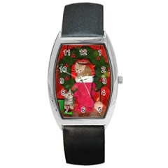 Christmas, Funny Kitten With Gifts Barrel Style Metal Watch by FantasyWorld7