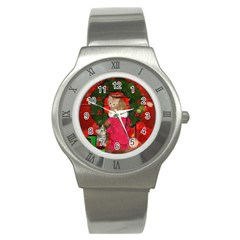 Christmas, Funny Kitten With Gifts Stainless Steel Watch