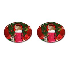 Christmas, Funny Kitten With Gifts Cufflinks (oval) by FantasyWorld7