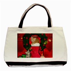 Christmas, Funny Kitten With Gifts Basic Tote Bag by FantasyWorld7