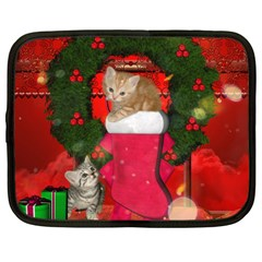Christmas, Funny Kitten With Gifts Netbook Case (large) by FantasyWorld7