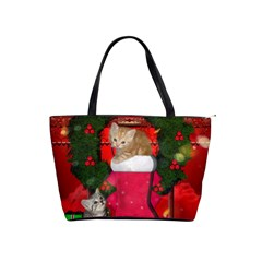 Christmas, Funny Kitten With Gifts Shoulder Handbags by FantasyWorld7