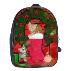 Christmas, Funny Kitten With Gifts School Bag (large) by FantasyWorld7