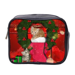 Christmas, Funny Kitten With Gifts Mini Toiletries Bag 2 Side by FantasyWorld7