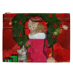 Christmas, Funny Kitten With Gifts Cosmetic Bag (xxl)  by FantasyWorld7