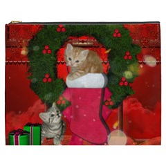 Christmas, Funny Kitten With Gifts Cosmetic Bag (xxxl)  by FantasyWorld7