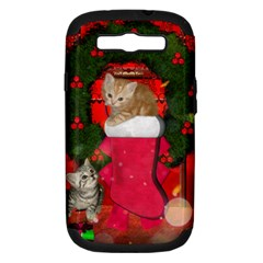 Christmas, Funny Kitten With Gifts Samsung Galaxy S Iii Hardshell Case (pc+silicone) by FantasyWorld7