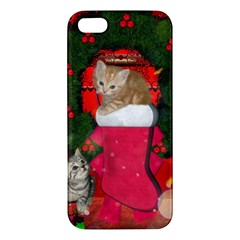 Christmas, Funny Kitten With Gifts Apple Iphone 5 Premium Hardshell Case by FantasyWorld7