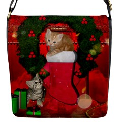 Christmas, Funny Kitten With Gifts Flap Messenger Bag (s) by FantasyWorld7