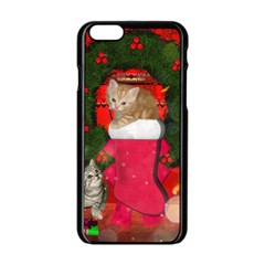 Christmas, Funny Kitten With Gifts Apple Iphone 6/6s Black Enamel Case by FantasyWorld7