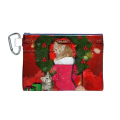 Christmas, Funny Kitten With Gifts Canvas Cosmetic Bag (m) by FantasyWorld7