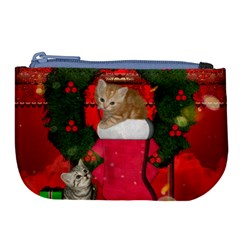 Christmas, Funny Kitten With Gifts Large Coin Purse by FantasyWorld7