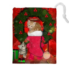 Christmas, Funny Kitten With Gifts Drawstring Pouches (xxl) by FantasyWorld7