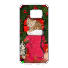 Christmas, Funny Kitten With Gifts Samsung Galaxy S7 Edge White Seamless Case by FantasyWorld7