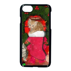 Christmas, Funny Kitten With Gifts Apple Iphone 7 Seamless Case (black) by FantasyWorld7