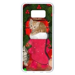 Christmas, Funny Kitten With Gifts Samsung Galaxy S8 Plus White Seamless Case