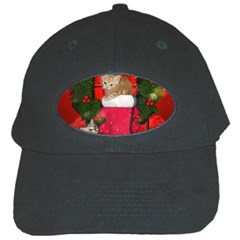 Christmas, Funny Kitten With Gifts Black Cap by FantasyWorld7