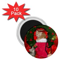 Christmas, Funny Kitten With Gifts 1 75  Magnets (10 Pack)  by FantasyWorld7