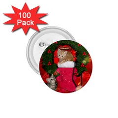 Christmas, Funny Kitten With Gifts 1 75  Buttons (100 Pack)  by FantasyWorld7