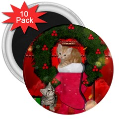 Christmas, Funny Kitten With Gifts 3  Magnets (10 Pack)  by FantasyWorld7