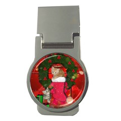 Christmas, Funny Kitten With Gifts Money Clips (round)  by FantasyWorld7