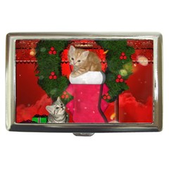 Christmas, Funny Kitten With Gifts Cigarette Money Cases by FantasyWorld7